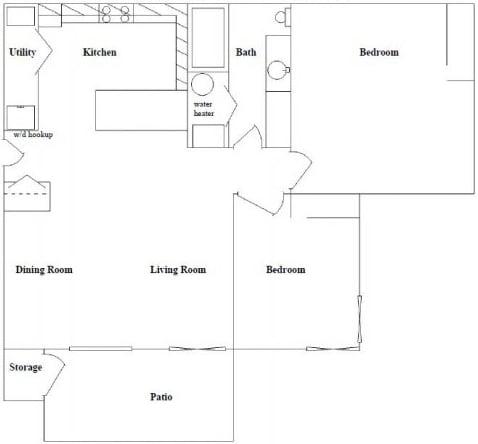 Floor Plan  2 Bed 1 Bath Floor Plan at Columbia Village, Boise, ID, 83716