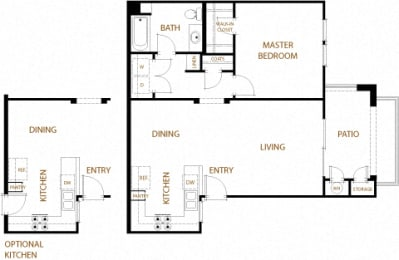 Napa - 1 Bedroom 1 Bath Floor Plan Layout - 781 Square Feet