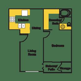 One Bedroom Floor Plan at Urban Trails, Mesa, AZ