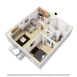 1 Bed - 1 Bath, 680 sq ft floor plan