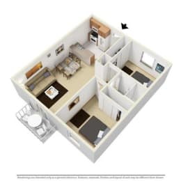 2 Bed - 1 Bath, 780 sq ft floor plan