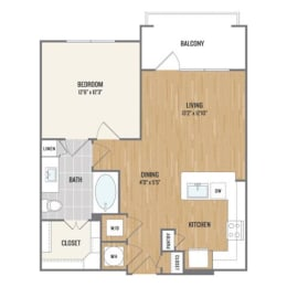 One-Bedroom Floor Plan at Berkshire Amber, Dallas, TX
