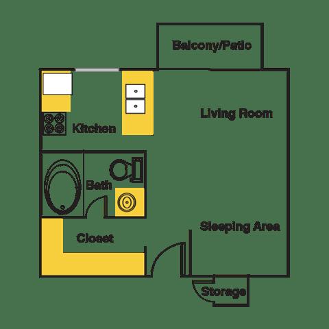 Floor Plan  Studio Floor Plan at Urban Trails, Mesa, AZ, 85202