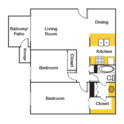 Floor Plan  Two Bedroom Floor Plan at Urban Trails, Mesa, 85202