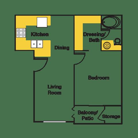 Floor Plan  One Bedroom Floor Plan at Urban Trails, Mesa, AZ