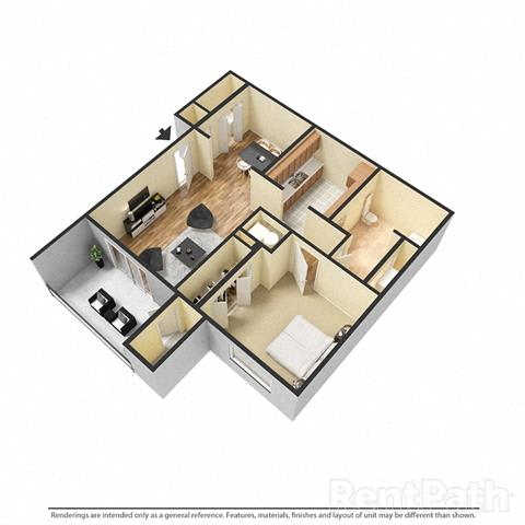 Floor Plan  1 Bedroom, 1 Bath Floor Plan at Creekside Square, Indiana
