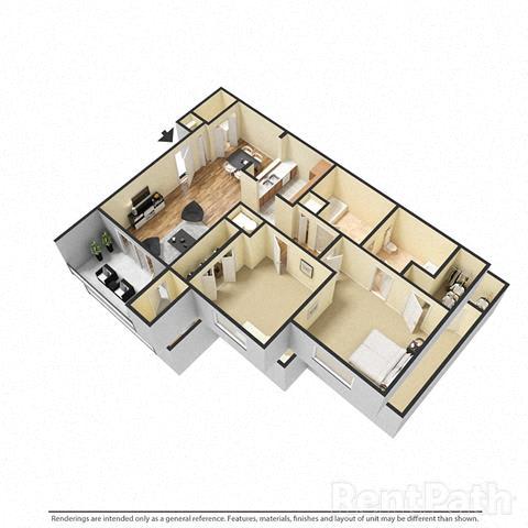 Floor Plan  2 Bedroom, 1.5 Bath Floor Plan at Creekside Square, Indianapolis, 46254