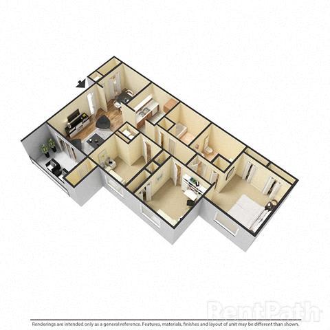 Floor Plan  3 Bedroom, 2 Bath Floor Plan at Creekside Square, Indianapolis