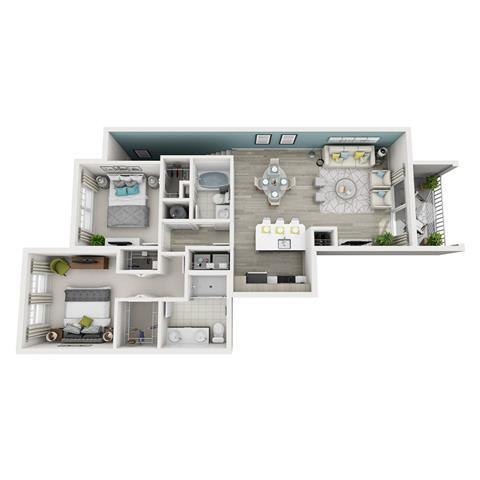 Floor Plan  2 Bed 2 Bath Excite Floor Plan at Altis Shingle Creek, Kissimmee, FL
