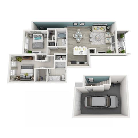 Floor Plan  2 Bed 2 Bath Excite (Garage) Floor Plan at Altis Shingle Creek, Kissimmee, 34746