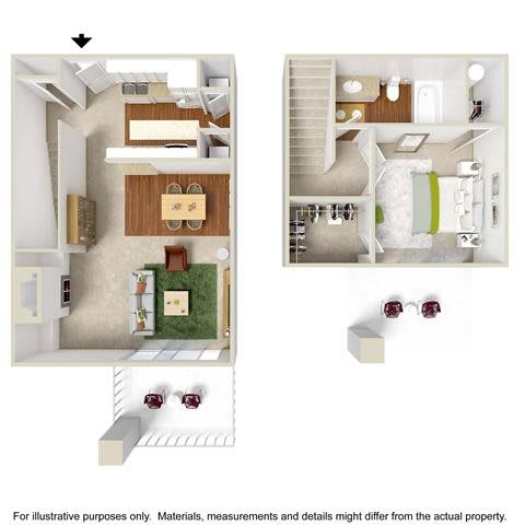 Floor Plan  1 Bed 1 Bath Townhome Floor Plan at Haven at Charbonneau, Wilsonville, OR, 97070