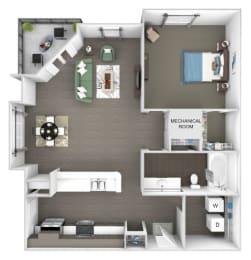Windward Long Point - A2 - Merlin - 1 Bedroom - 1 Bathroom - 3D