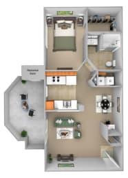 Barton Vineyard - A2 (Provence) - 1 bedroom and 1 bath - 3D