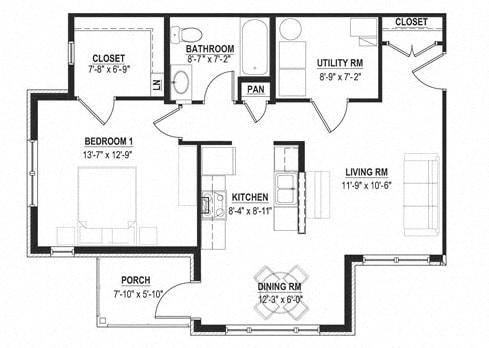 Floor Plan  1 Bedroom 1 Bath-2D Floorplan_Cornerstone Village Pittsburgh, PA