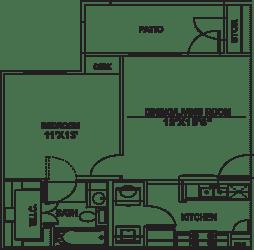 Floor Plan A2 - 1bed/1bath