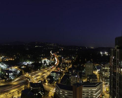 City views at night from The Bravern, 688 110th Ave NE, WA