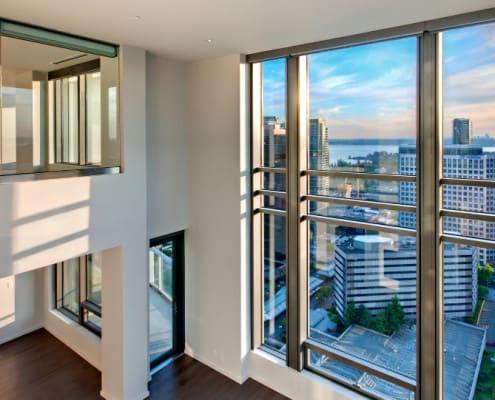 Expansive penthouse windows at The Bravern, Bellevue, WA
