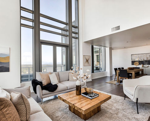 Seating in penthouse at The Bravern, 688 110th Ave NE, WA