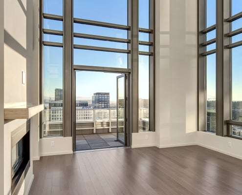 Floor to ceiling penthouse windows at The Bravern, Bellevue, WA