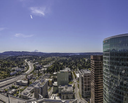 Mountain views from penthouse at The Bravern, 688 110th Ave NE, WA