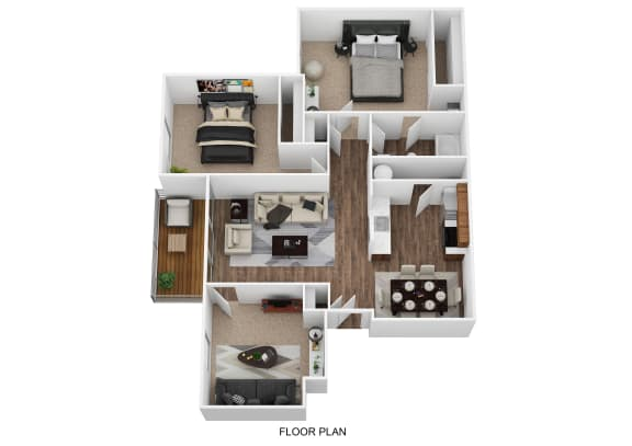Floor Plan  Renovated 2 bed with Den Floor Plan at Cooks Crossing Apartments, Milford