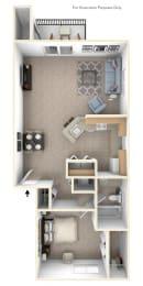 1 Bed 1 Bath One Bedroom End Floor Plan at Oak Shores Apartments, Oak Creek, Wisconsin