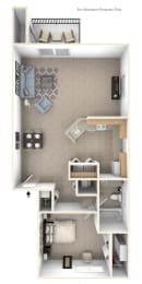 One Bedroom End Floor Plan at Windmill Lakes Apartments, Holland, MI, 49424