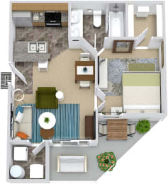 3D Addison 1 bedroom apartment. kitchen with bartop peninsula island. open to dining-living area. 1 full bath. walk-in closet. in-unit laundry. Patio/balcony.