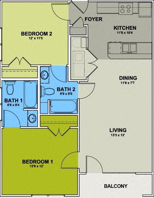 Floor Plan  Image of Fisher Park Floor Plan 2 Bed 2 Bath