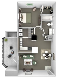 Cheswyck at Ballantyne Apartments - A2 (Appleton) - 1 bedroom and 1 bath - 3D floor plan