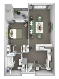 Avenel at Montgomery Square floor plans - The Montgomery -A1 - 1Bed 1Bath - 3D