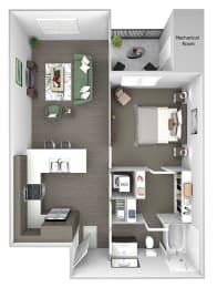 The Haven at Shoal Creek - A1 - Renew - 1 bedroom - 1 bath - 3D