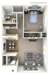 Redwood One Bedroom Floor Plan at Perry Place, Grand Blanc, MI, 48439
