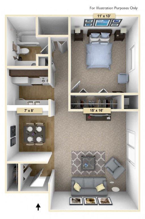 Floor Plan  Redwood One Bedroom Floor Plan at Perry Place, Grand Blanc, MI, 48439