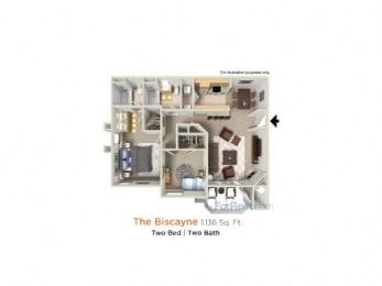 Biscayne Premier - 2 Bedroom 2 Bath Floor Plan Layout - 1136 Square Feet