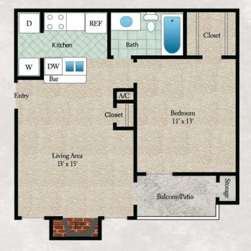 Floor Plan  1 bedroom, 1 bathroom with walk-in closet, coat closet, kitchen, living area, and private patio or balcony in select apartment homes (558 sqft)