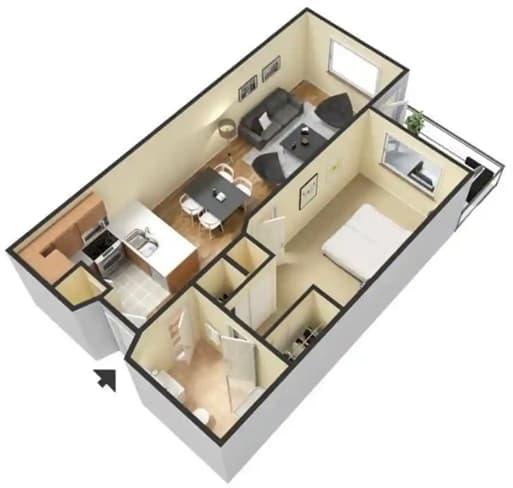 Floor Plan  B – 1 Bedroom 1 Bath Floor Plan Layout – 560 Square Feet