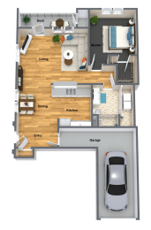 Cabernet One Bed One Bath Floor Plan at The Brix Apartments, Spokane Valley, WA
