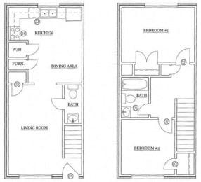 Floor Plan 2 BED / 1.5 BATH