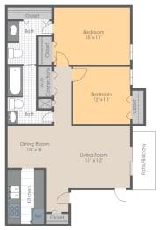 Floor Plan 2 BR 1.5 Bath