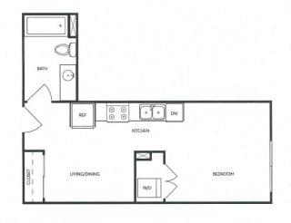 Studio 1 Bath 421 square feet floor plan A5