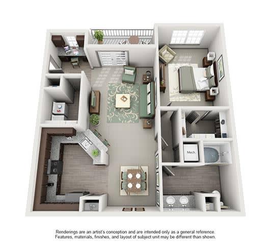 Floor Plan  The Estates at Johns Creek Apartment Homes - 1 Bedroom 1 Bath Apartment