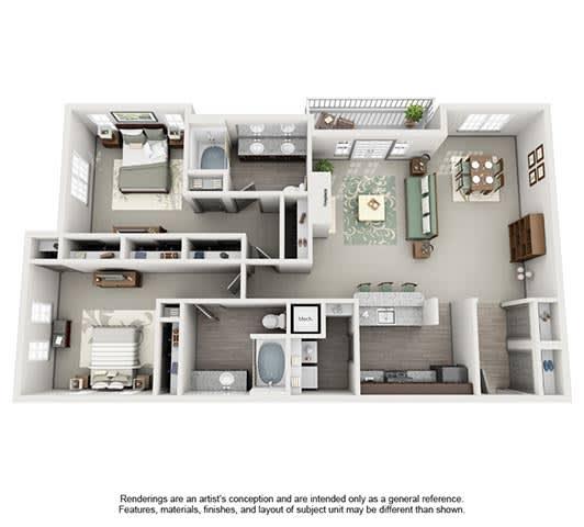 Floor Plan  The Estates at Johns Creek Apartment Homes - 2 Bedroom 2 Bath Apartment