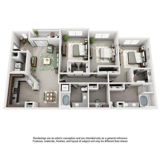 Floor Plan  The Estates at Johns Creek Apartment Homes - 3 Bedroom 2 Bath Apartment