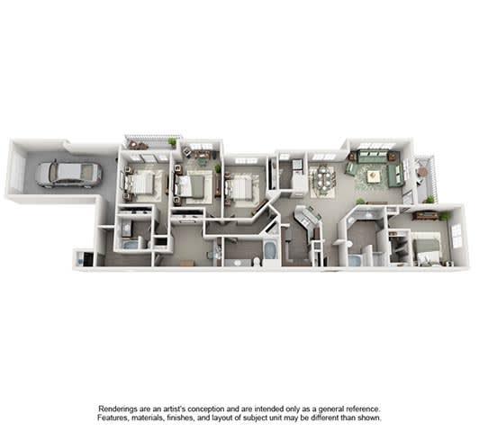 Floor Plan  The Estates at Johns Creek Apartment Homes - 4 Bedroom 3 Bath Apartment