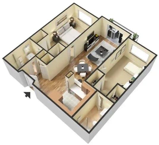 Floor Plan  D – 2 Bedroom 2 Bath Floor Plan Layout – 860 Square Feet