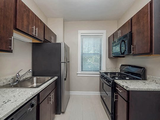 Renovated Kitchens at Irving Courts by Reside, Chicago, IL