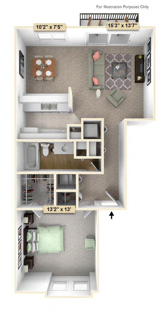 Floor Plan  One Bedroom Juniper Floor Plan at Thornridge Apartments, Grand Blanc, Michigan
