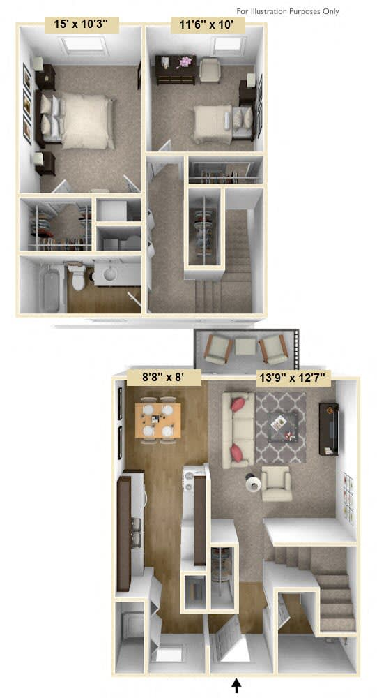 Floor Plan  Two bedroom-Two-bath Emerald Style Floor Plan at Shannon Manor Townhouses, Michigan, 48423