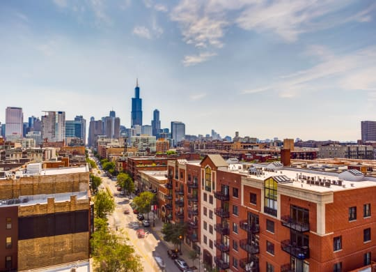 Skyline view of Chicago from The Madison at Racine at The Madison at Racine, Illinois